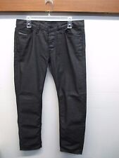 Diesel Black Keever faux Leather Button Fly 33x30 Coated Slim 100% Cotton Jeans