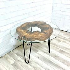 Modern Olive Wood and Glass Coffee Table