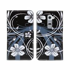 For LG G2 Black/White Orchid Design Leather Card Wallet Flip Case Cover Stand