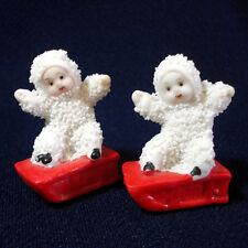 Snowbaby Snow Baby on Sled Christmas Figure Pair