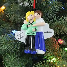 Pregnant Couple Blonde Personalized Christmas Tree Ornament Holiday Gift Rudolph