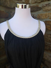 Boho  Black dress Size  L Cotton Festival Greek Goddess Sleeveless Summer Fun