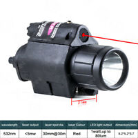 Tactical For Pistol One RED Laser&CREE LED Flashlight Combo Fit 20mm Rail Mount