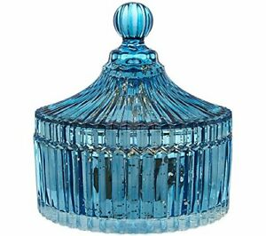 Design Accents Mercury Glass Trinket Jar with LED Light Strand, Blue