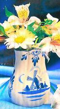 Nobel Hall Ceramic Dutch Design Bud Vase With Blue Windmills - Nbu Nib