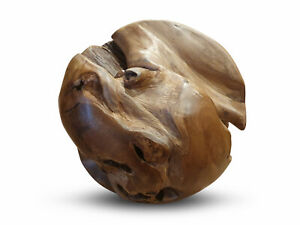 Holzkugel Teak Wurzelholz Kugel Massivholz Garten Deko Ball Dekoration rustikal