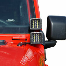 Lower Windshield 4x LED Lights & Mounts Brackets Kit For Jeep Wrangler JL 2018+