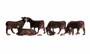New Woodland HO Scale Black Angus Cows Train Figures A1955