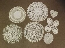 "Variety Lot of 7 Vtg White Ivory Crocheted Lace Doilies Size Range 6"" to 14.25"""