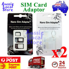 2 x SIM Card Adapter Kit 4 in 1 Nano Micro Standard Converter for Apple iPhone E