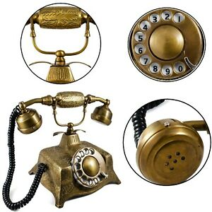 Brass Telephone Landline Retro Wired Rotary Dial Telephone Home Decor Gifts