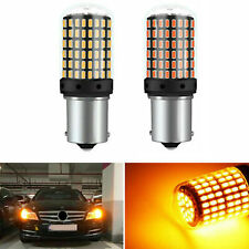Pair 1156 144SMD BA15S P21W LED Turn Signal Lights Bulb Canbus Amber/Yellow 12V