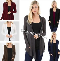 Light Weight Waterfall Hacci Layer Drape Long Sleeve Cardigan Top w/ Pockets