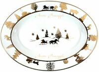 """222 Fifth Adirondack White 14"""" Oval Serving Platter Holiday Plate Winter Snow"""