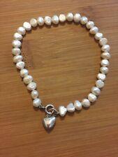 Genuine Real Fine Freshwater Pearl Bracelet Sterling Silver 925 Heart Charm VGC