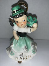 Vintage Lefton March Birthday Angel 1957 Figurine Irish Girl Shamrock Clover