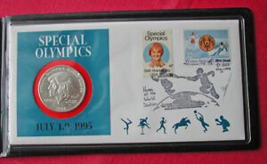 1995 Special Olympics UNC silver commemorative coin cover-Fleetwood