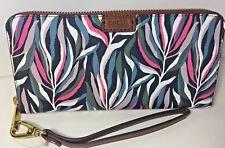 Fossil Womens Zip Around Wallet Clutch Emma Wristlet Large Sea Pink Print RFID