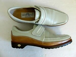 Walter Genuin Golf Loafer Shoes Cool Sage Green Brown Leather Womens 7.5 EU 38