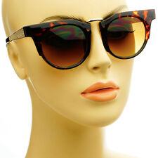 Designer Retro Style Mens Womens Metal Arms Fashion Round Sunglasses Tortoise