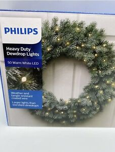 Philips Heavy Duty Dewdrop Lights 50 Warm White LED Indoor/Outdoor Battery