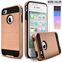 For iPhone 4/4S/5/5S/SE/5C Phone Case, Shockproof Cover+Tempered Glass Protector