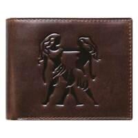 Unique Bi-Fold Brown Genuine Leather Wallet ID Credit Card Holder Zodiac GEMINI