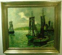 Carl Wilhelm Mosblech, Norddeutsche Küstenlandschaft mit Fischerbooten,Ölgemälde