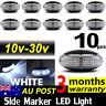 10 X LED CLEARANCE LIGHTS SIDE MARKER LAMP WHITE TRAILER TRUCK LORRY 10V-30V