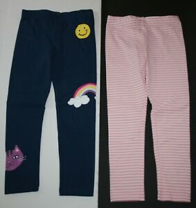 New Carter's Girls 2 Pack Leggings 5T Happy Face Rainbow Cat Blue & Pink Stripes