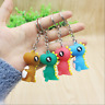 4pcs Multicolor Soft Glue Cute Cartoon Dinosaur Keychain Keyring Fit Child Kids
