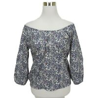 J Crew XS Liberty Floral Top Womens Junes Meadow Peasant Boho Blouse