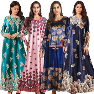 Islamic Abaya Velvet Long Maxi Dress Robes Floral Muslim Women Vintage