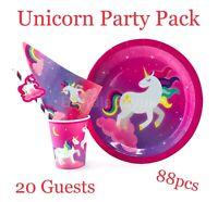 Unicorn Party Supplies Girls Birthday Theme Tableware Plates Cups Napkins Straws