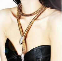 Vintage Gold Women Chain Pendant Crystal Snake Choker Bib Statement Necklace