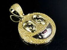 10K Yellow Gold Canary Diamond Dollor Sign Smiley Emoji Pendant 9/10 Ct 1.5""