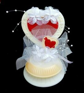 Vintage Cake Topper Red & White Heart Pearls Flowers Tulle