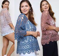 PLUS XL 1XL 2XL BLUHEAVEN LATTE MAUVE DENIM Crochet Lace Top/Blouse/Shirt  BHCS