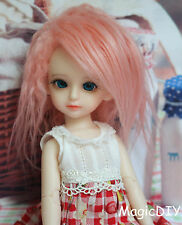 "5-6"" 14cm BJD doll fabric fur wig Soft Pink curly wig bjd hair for 1/8 bjd dolls"