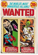 WANTED #9 (VF/NM) SUPERMAN! +SANDMAN Story! 1973 DC Classic Bronze-Age Issue