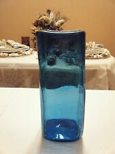 BEAUTIFUL BLUE SQUARE VASE 8.5 HIGH WITH 3.25 OPENING