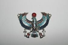 Egyptian Winged Scarab Sterling Silver & Blue Pendant Turquoise Lapis Coral Jade
