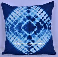 "Tie Dye Indian Blue Mandala Cotton Cushion Cover Hippie Pillow Case 16X16"" Throw"