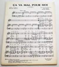Partition vintage sheet music DOMINIQUE COZETTE : Ca Va Mal Pour Moi * 70's