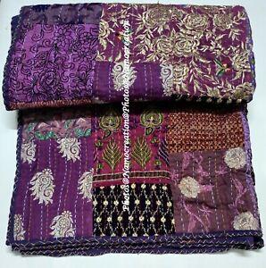 Cotton Handmade Patchwork Embrodiery Kantha Quilt Khambhadiya Boho Throw Blanket