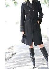 ladies women's winter black wool coat long jacket faux fur plus sizeXL1X 2X 3X4X