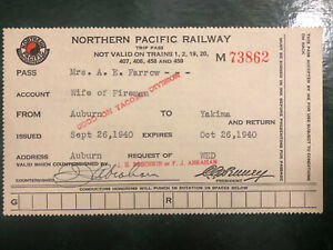 1940 NORTHERN PACIFIC RAILWAY TRIP PASS - WIFE OF FIREMAN