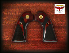 RUGER BISLEY OXBLOOD GRIPS ~ SERPENTINE CHECKERING + GOLD LIBERTY EAGLES