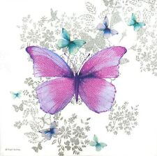 N757# 3x Single Paper Napkins For Decoupage Craft Tiisue Pink Butterfly On White