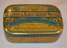 Antique Collectable The Allenburys Glycerine & Blackcurrant Pastilles Tin 1930's
